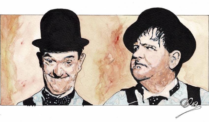 Stan Laurel, Oliver Hardy by Adzee